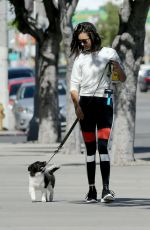 NINA DOBREV Walks Her Dog Out in West Hollywood 04/28/2017