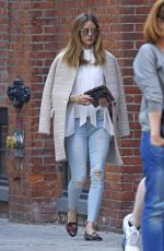 OLIVIA PALERMO in Ripped Jeans Out in New York 04/16/2017