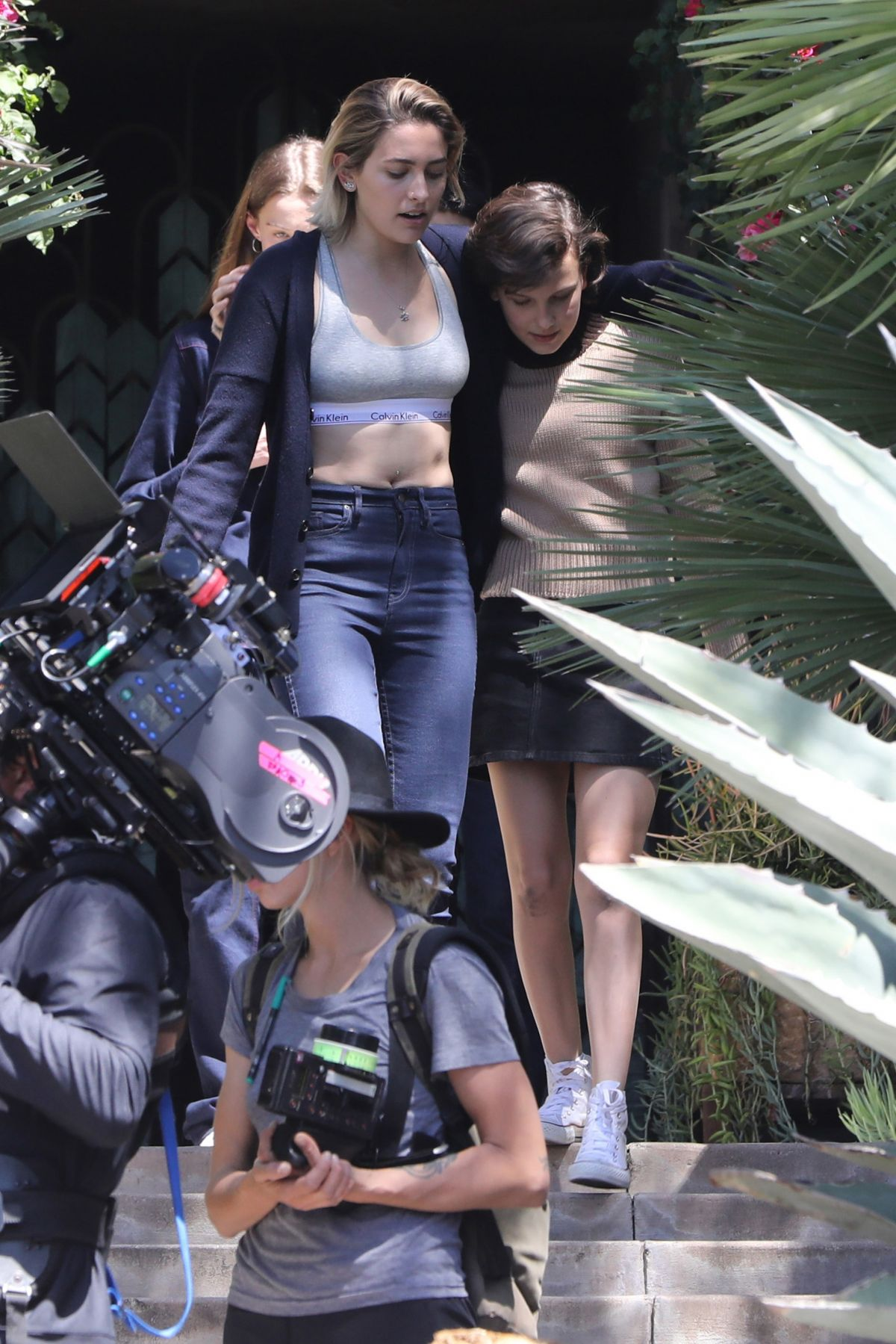 PARIS JACKSON and MILLIE BOBBY BROWN on the Set of Black Dhalia House in Los Angeles 04/20/2017   paris-jackson-and-millie-bobby-brown-on-the-set-of-black-dhalia-house-in-los-angeles-04-20-2017_4