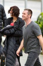 PAULA PATTON on the Set of Somewhere Between Movie in Vancouver 04/08/2017