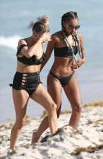 PERRIE EDWARDS, JESY NELSON and LEIGH-ANNE PINNOCK at a Beach in Miami 04/13/2017