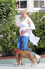 Pregnant ABI TITMUSS Walks Her Dog Out in Los Angeles 04/28/2017