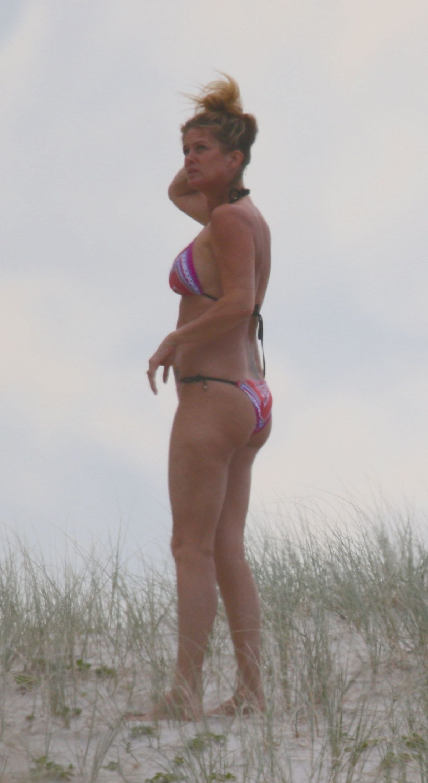 RACHEL HUNTER in Bikini on the Beach in New Zealand 03/19