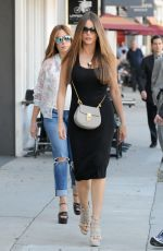 SOFIA VERGARA in Tight Dress Out for Lunch in Beverly HIlls 04/20/2017