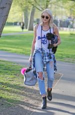 STEPHANIE PRATT with Her Dog Out in London 04/11/2017