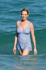 UMA THURMAN on the Set of a Commercial on the Beach in Florida 04/26/2017