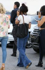 VANESSA HUDGENS Gets a Flat Tire while Shopping with STELLA in Los Angeles 04/28/2017