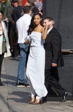 ZOE SALDANA Arrives at Jimmy Kimmel Live in Los Angeles 04/17/2017