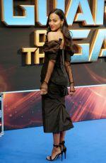 ZOE SALDANA at Guardians of the Galaxy Vol. 2 Premiere in London 04/24/2017