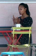 ZOE SALDANA Out for Lunch in Los Angeles 04/14/2017