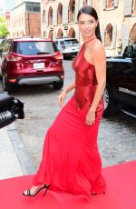 ADRIANA LIMA in Red Dress on the Set of a Photoshoot 05/10/2017