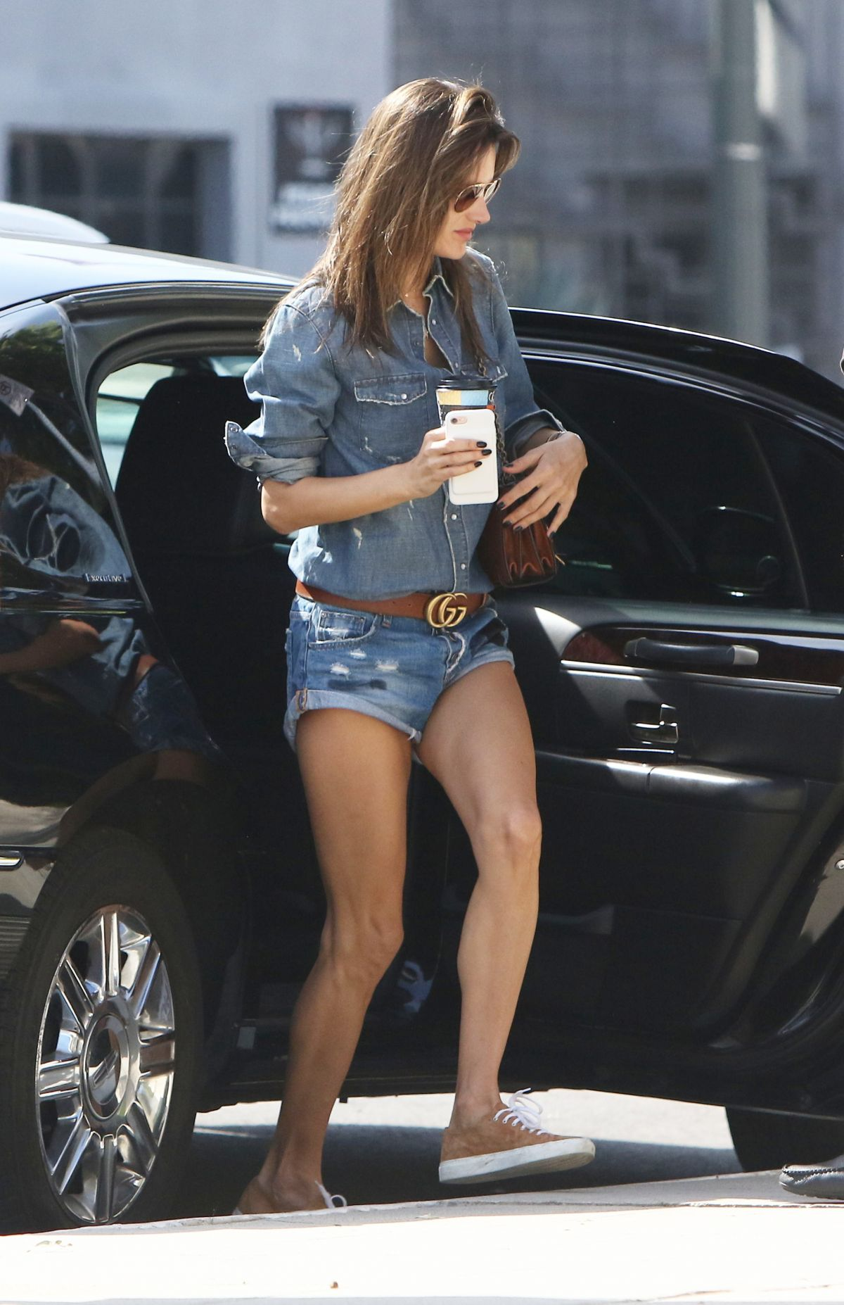 ALESSANDRA AMBROSIO in Denim Shorts Out in Brentwood 05/03/2017
