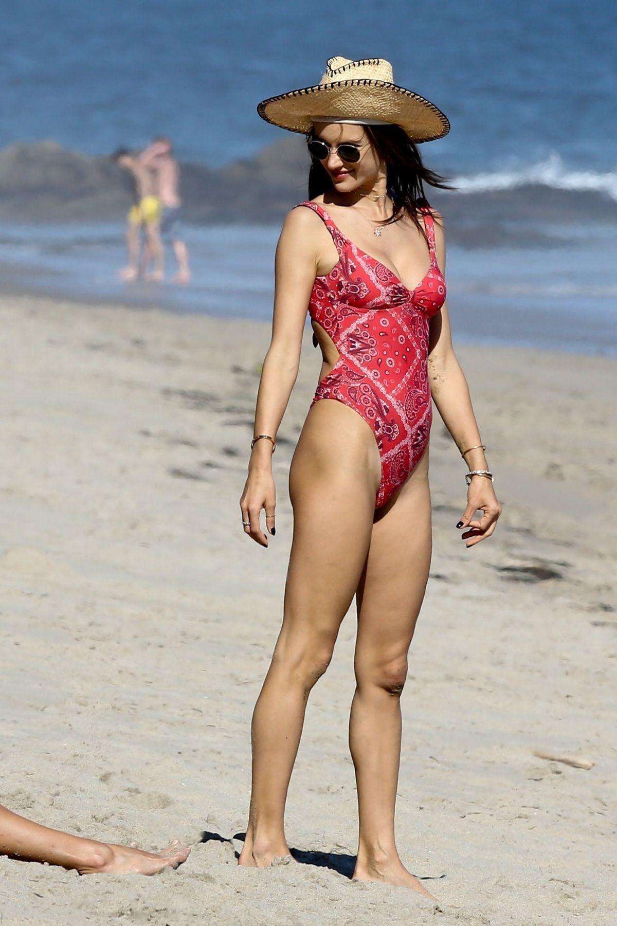 ALESSANDRA AMBROSIO in Swimsuit on the Beach in Malibu 05/29/2017