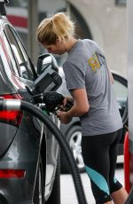 ASHLEY GREENE in Leggings at a Gas Station in Los Angeles 05/09/2017