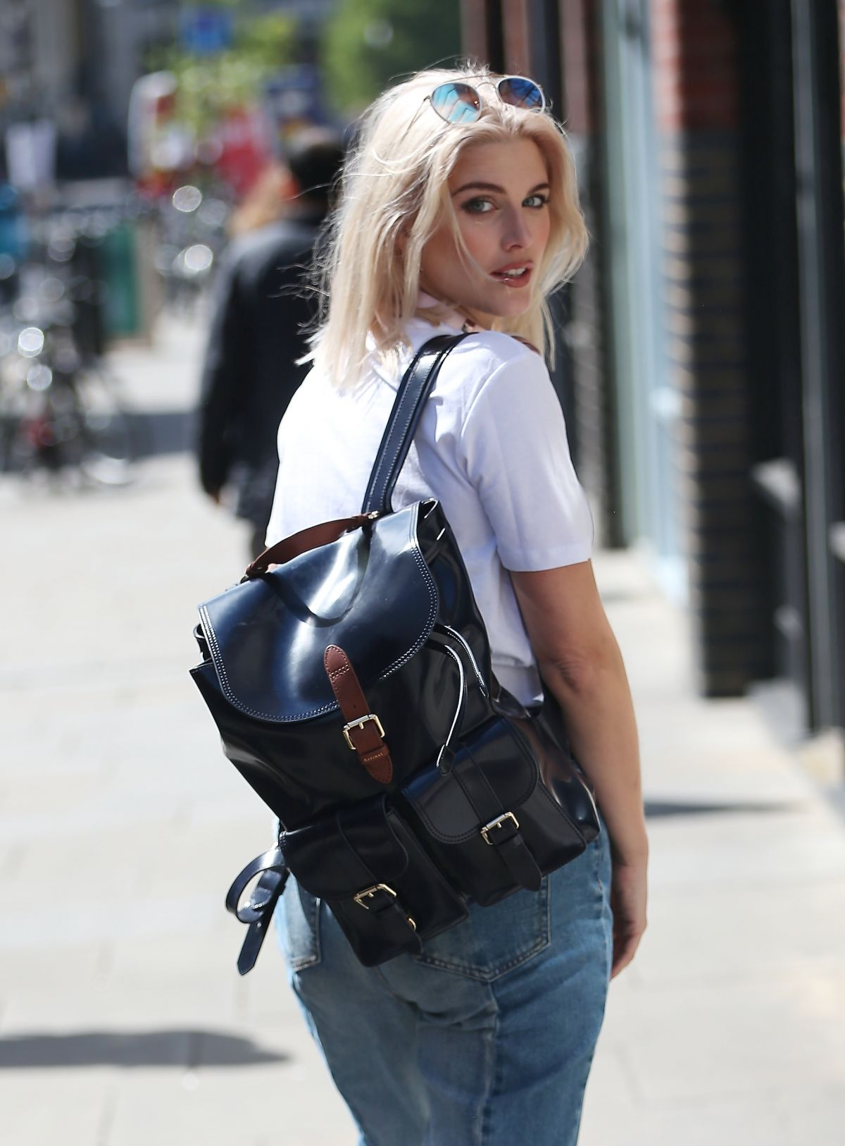 ASHLEY JAMES Arrives at Hoxton Radio Studios in London 05/05/2017