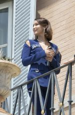 BELLA HADID at Balcony of Her Hotel in Rome 05/24/2017