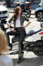 BIANCA BALTI on the Set of a OVS Commercial in Milan 05/29/2017