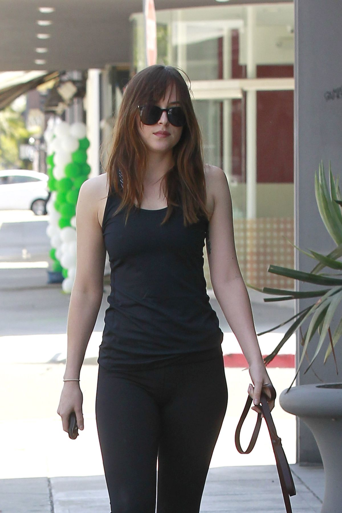 DAKOTA JOHNSON Out with Her Dog in Los Angeles 05/18/2017