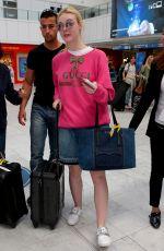 ELLE FANNING in Denim Skirt at Nice Airport 05/25/2017