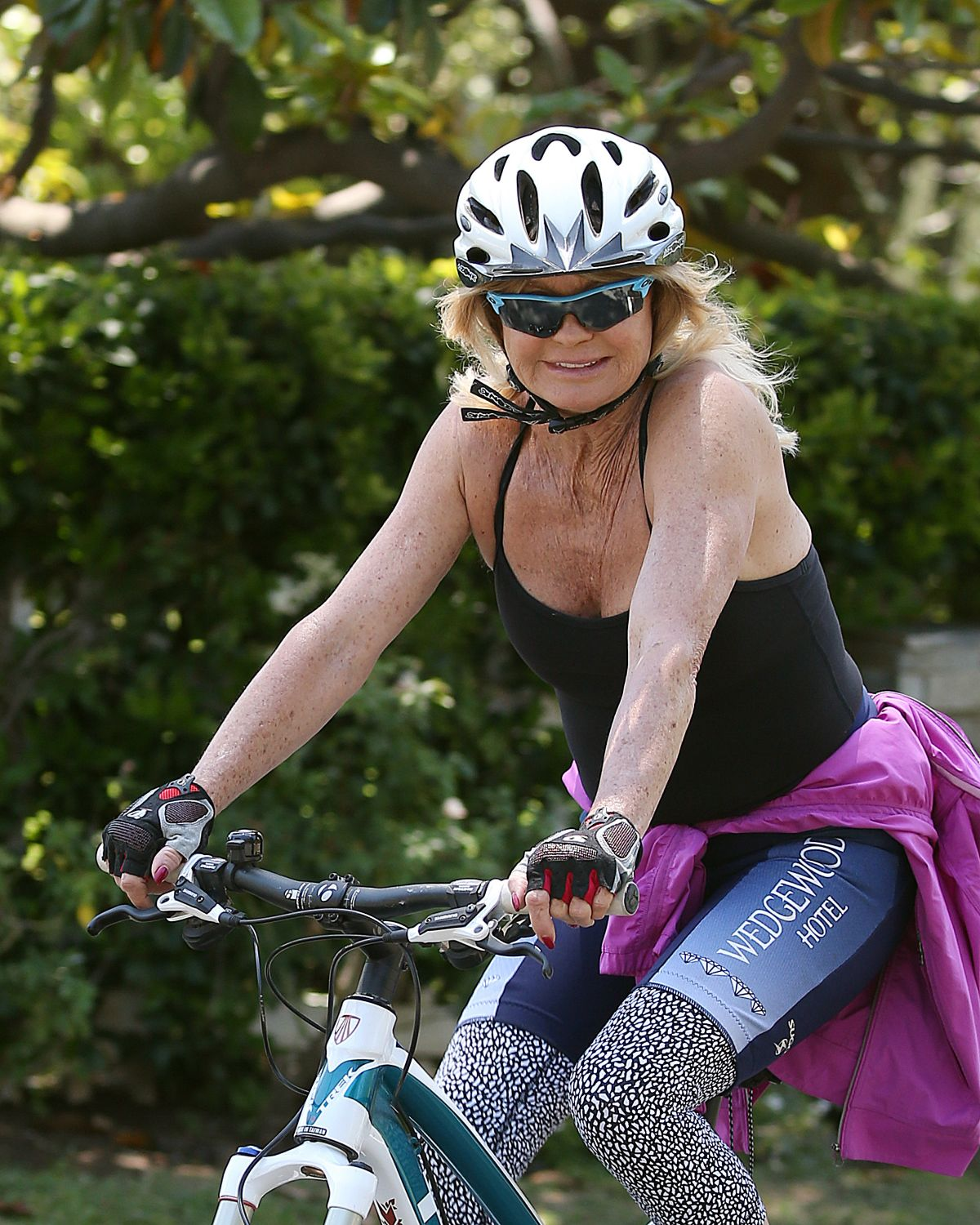 GOLDIE HAWN Out Riding a Bike in Pacific Palisades 05/27/2017