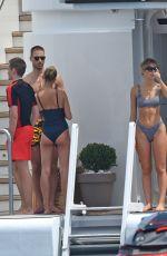 HAILEY BALDWIN in Bikini and CAMI MORRONE in Swimsuit at a Yacht in Cannes 05/23/2017