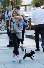 HILARY DUFF Walks Her Dog Out in New York 05/16/2017