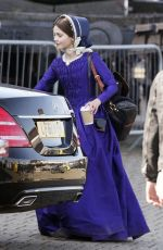 JENNA LOUISE COLEMAN on the Set of Victoria in Hartlepool 05/10/2017