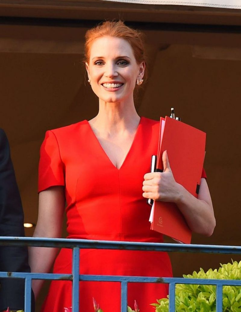 JESSICA CHASTAIN at Her Hotel in Cannes 05/16/2017