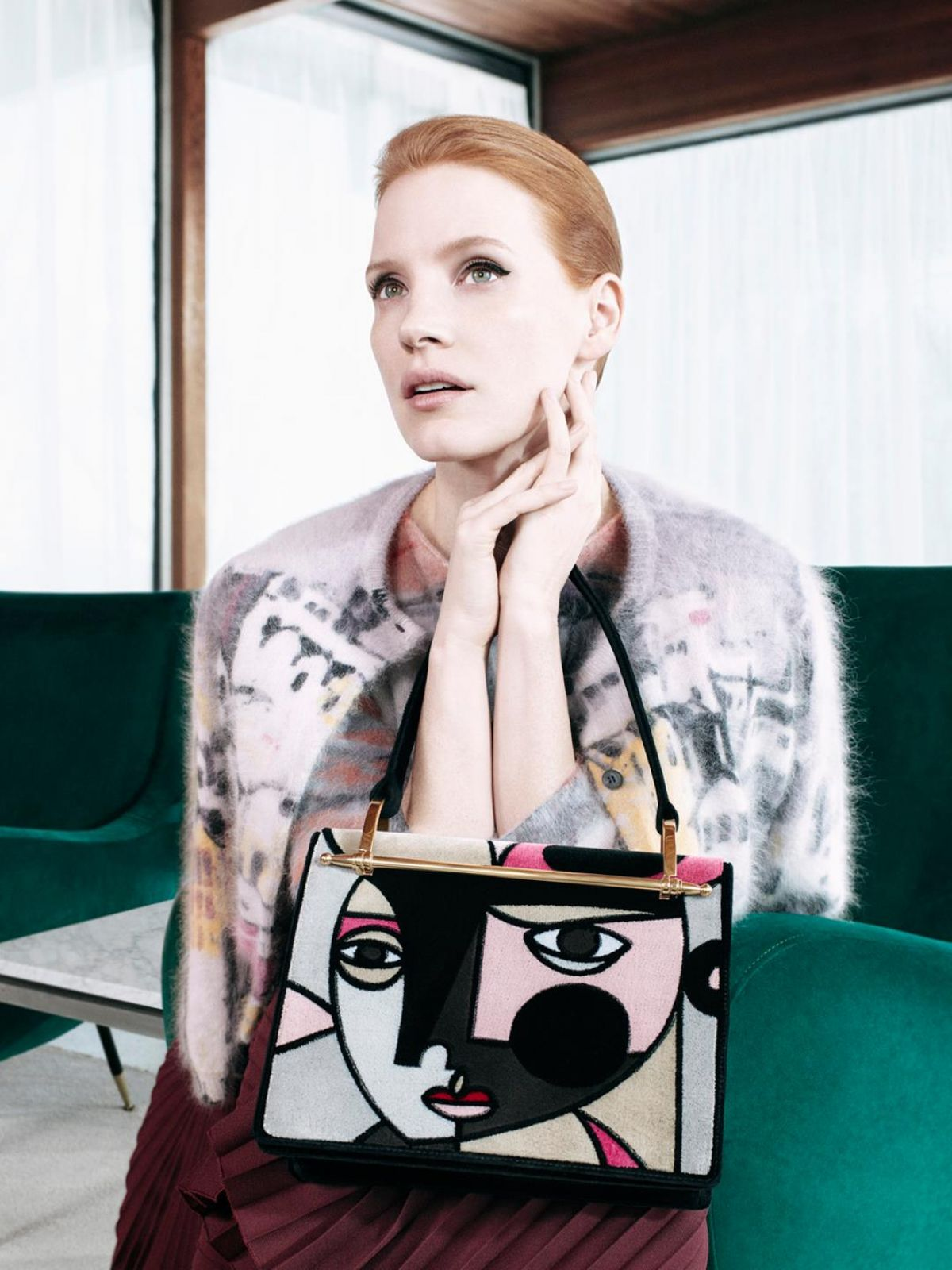 JESSICA CHASTAIN for 2017 Prada Pre-fall Campaign