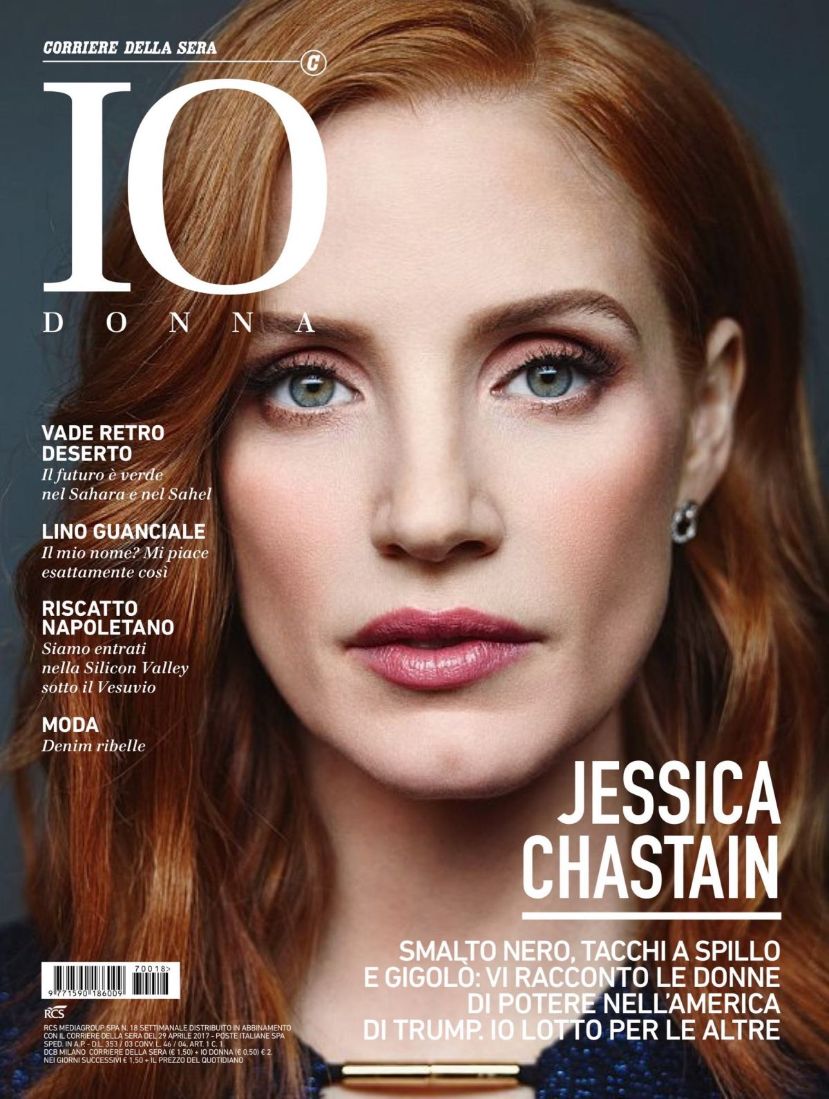 JESSICA CHASTAIN in Io Donna Magazine, Italy 04/29/2017