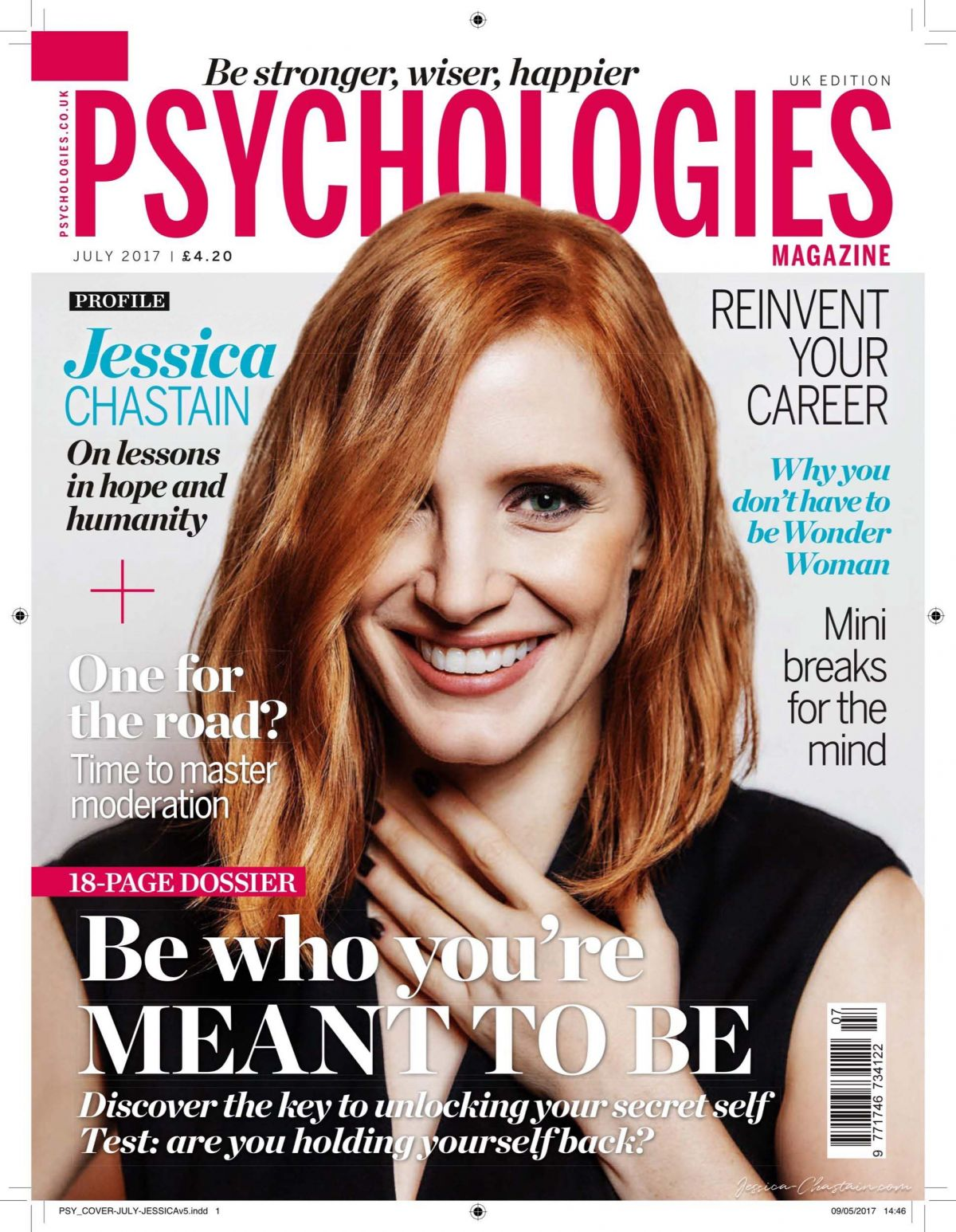 jessica chastain in psychologies magazine july 2017