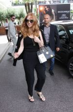 JESSICA CHASTAIN Leaves Hotel Martinez in Cannes 05/18/2017