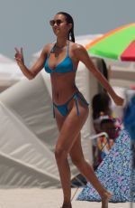 LAIS RIBEIRO in Blue Bikini on the Beach in Miami 05/28/2017