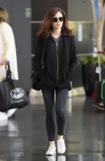 LILY COLLINS Arrives at JFK Airport in New York 04/30/2017