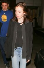 LILY COLLINS at LAX Airport in Los Angeles 05/04/2017