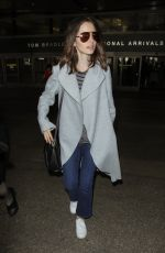 LILY COLLINS at Los Angeles International Airport 05/27/2017