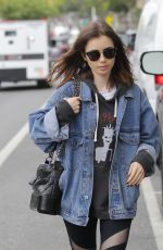 LILY COLLINS Leaves a Gym in Beverly Hills 05/10/2017
