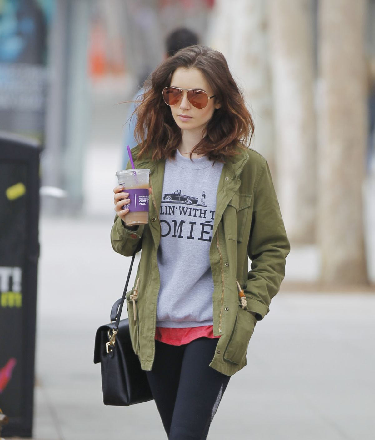 LILY COLLINS Leaves a Gym in Los Angeles 05/30/2017