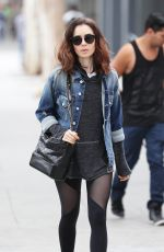 LILY COLLINS Leaves a Gym in Los Angeles 05/31/2017