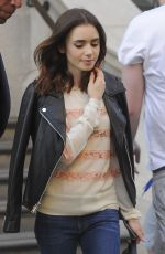 LILY COLLINS Leaves Corinthia Hotel in London 05/26/2017