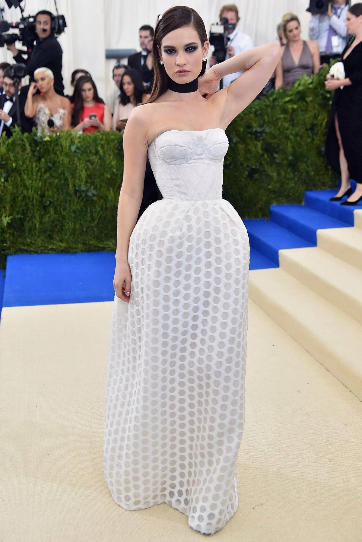 LILY JAMES at 2017 MET Gala in New York 05/01/2017