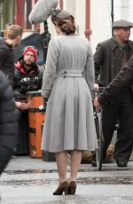 LILY JAMES on the Set of Gurnsey in London 05/05/2017