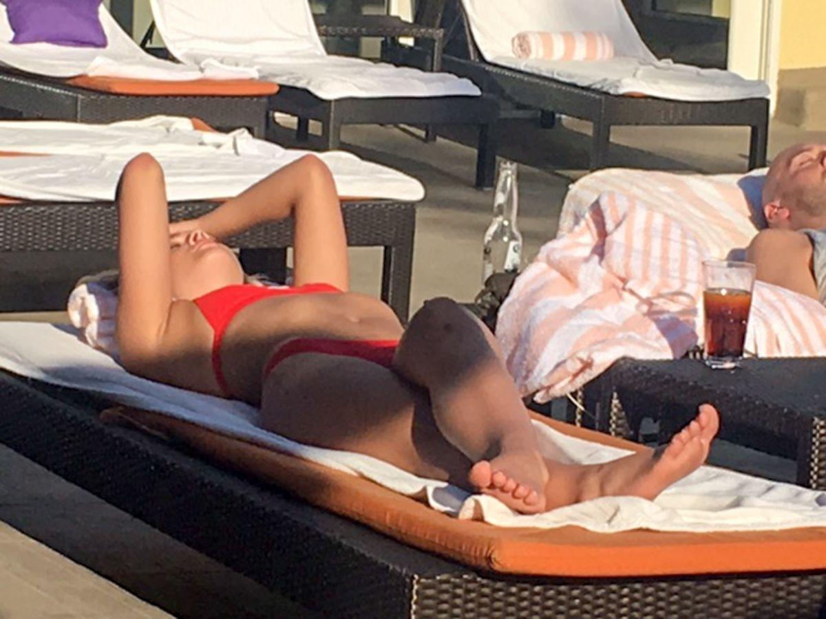LOUISA JOHNSON in Bikini at a Pool in Los Angeles 05/18/2017
