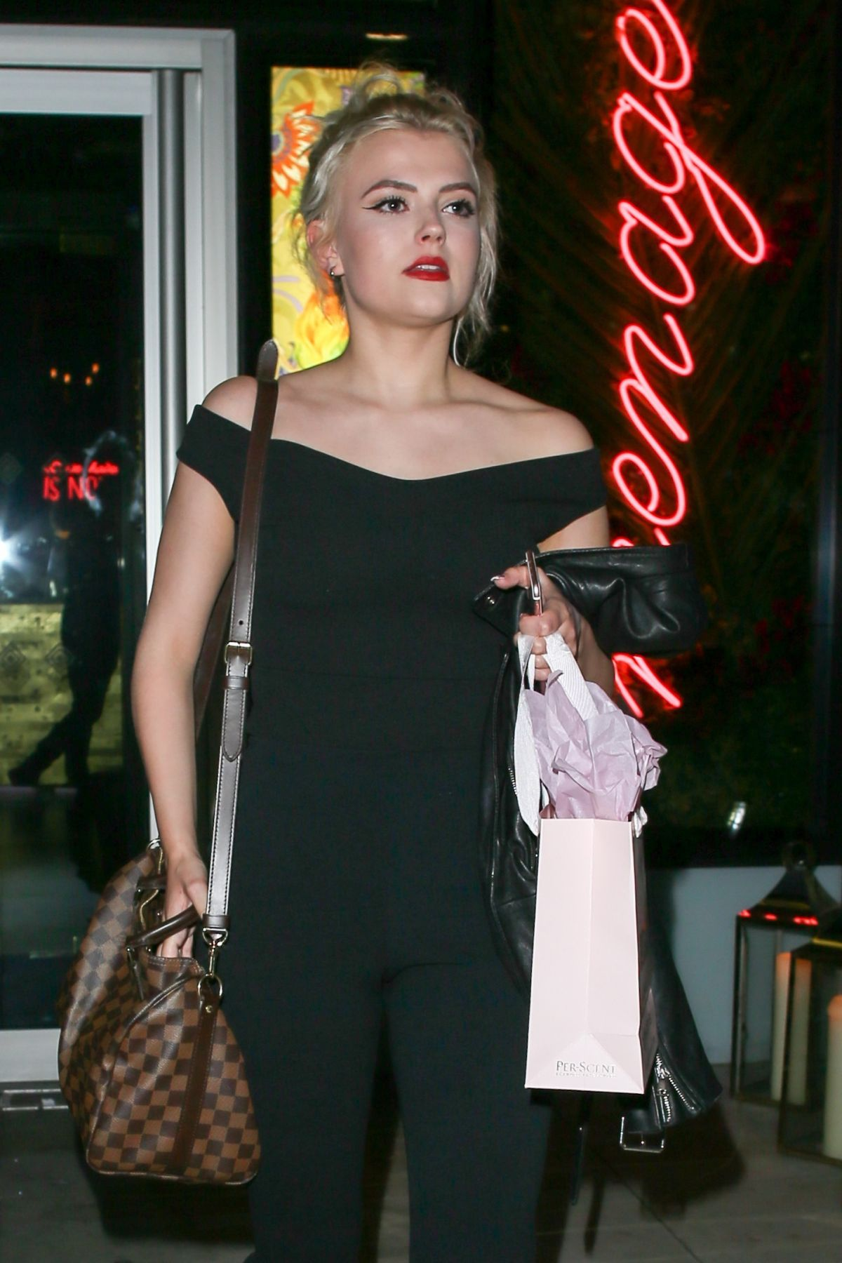 LUCY FALLON Leaves Menagerie Restaurant and Bar in Manchester 05/11/2017