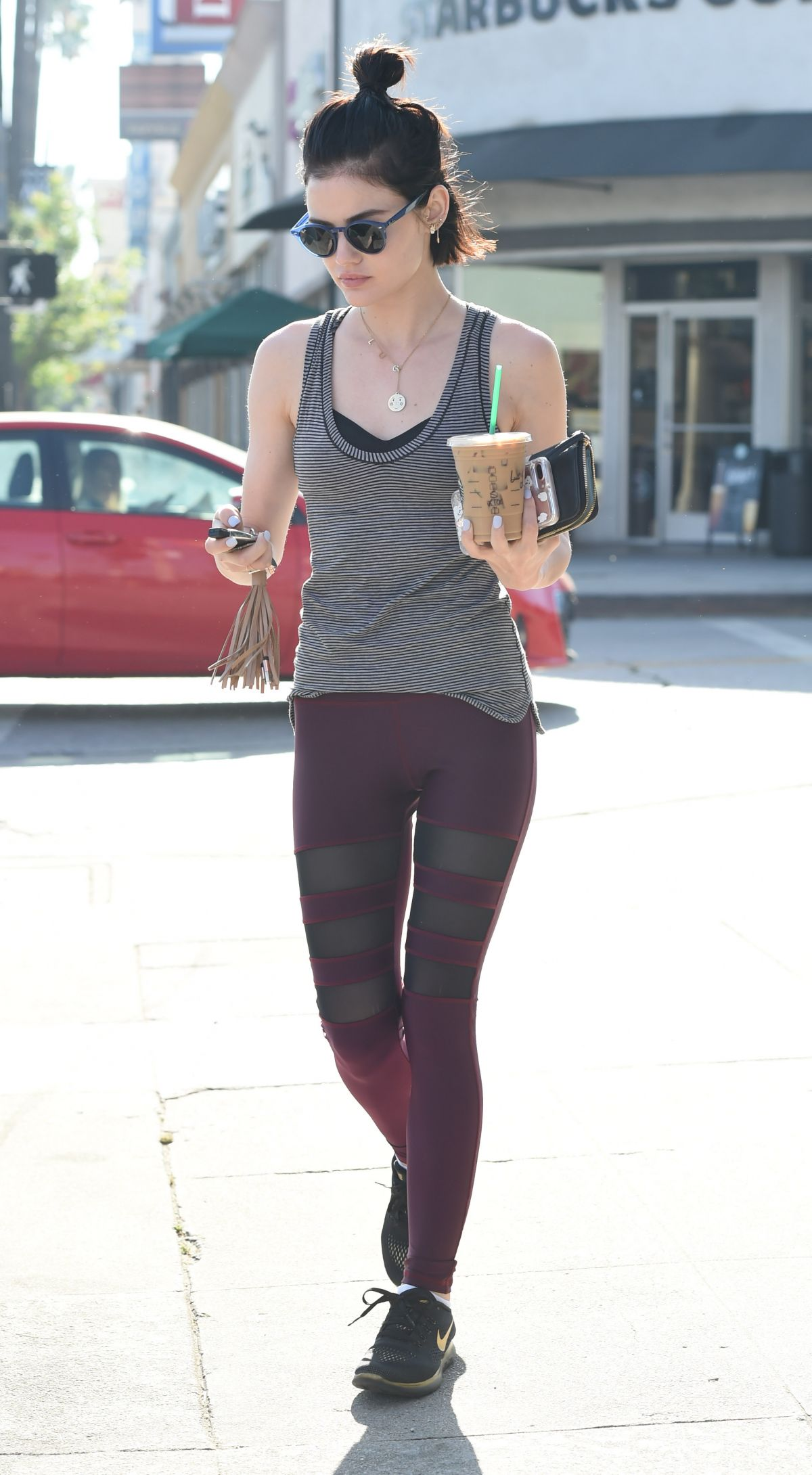LUCY HALE in Tights Leaves a Gym in Los Angeles 05/04/2017