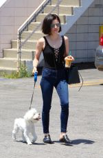 LUCY HALE Walks Her Dog Out in Los Angeles 05/03/2017