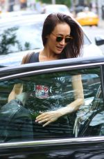 MAGGIE Q Leaves Her Hotel in New York 05/09/2017