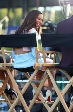 MELANIE BROWN on the Set of Extra Today in Los Angeles 05/01/2017
