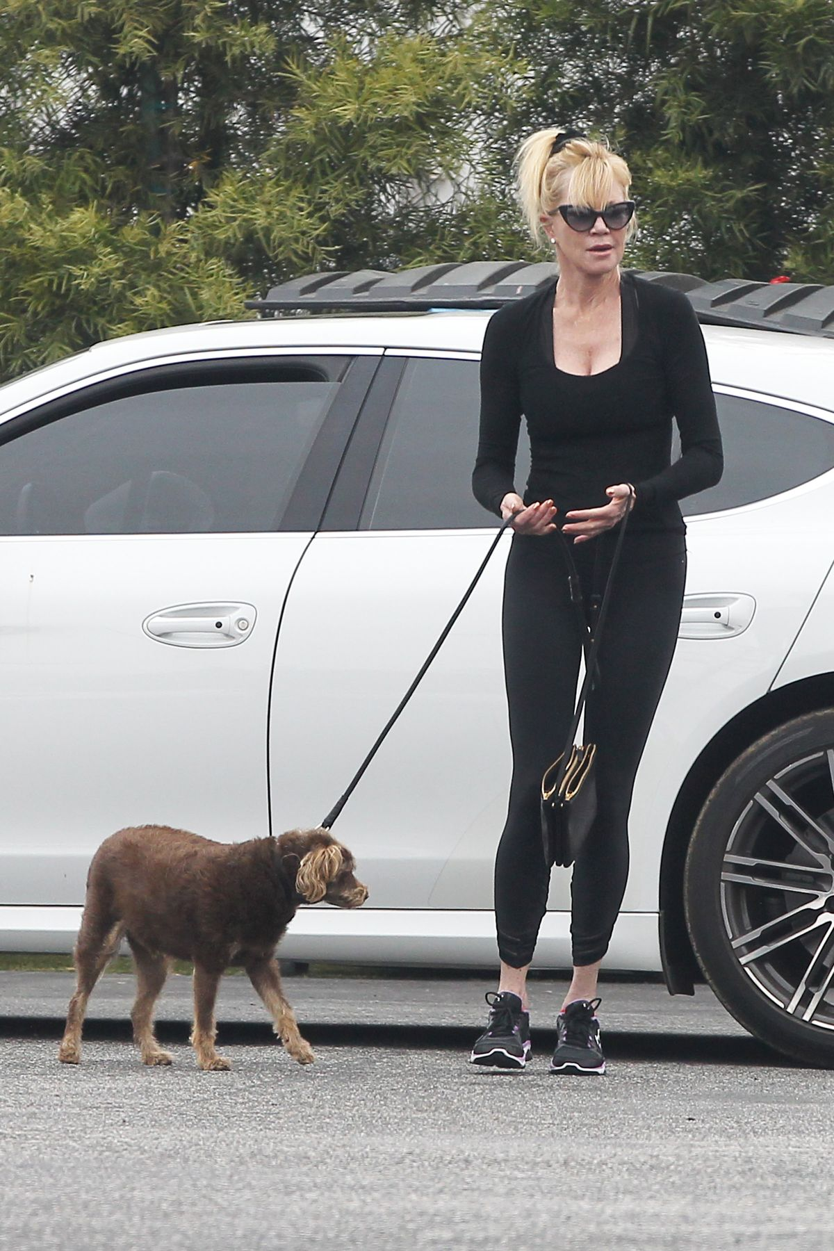 Melanie Griffith Take Her Dog To Vet Clinic In Los Angeles