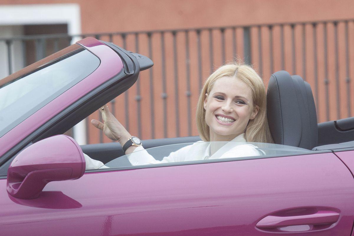MICHELLE HUNZIKER Drives Her Porsche Out in Biella 05/06/2017